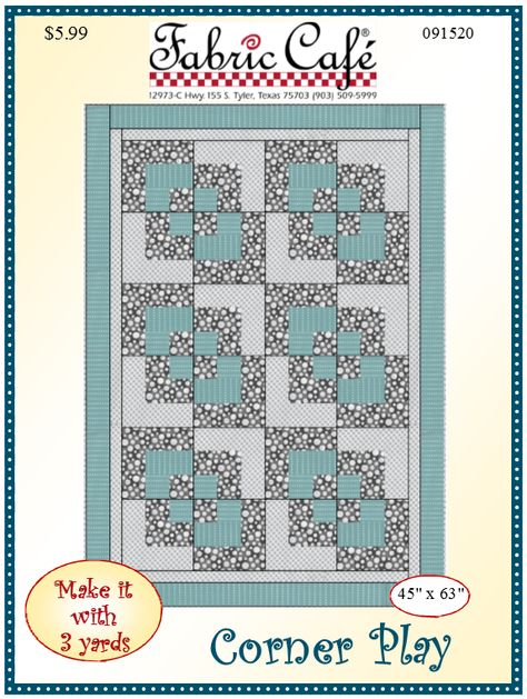 Corner Play 3 Yard Quilt Pattern Quilts Pinterest Quilt