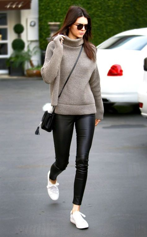 Recreate this Kendall Jenner look with our black glossy leggings. These look just like your favorite pair of leather leggings only cheaper