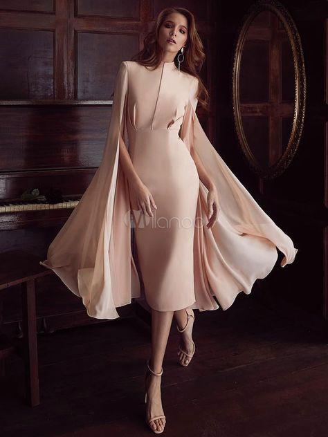 Pink Party Dress Cape Shoulder Cocktail Dress Long Sleeve Split Pencil Dress