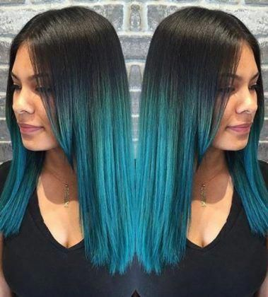 Raven Hair With Turquoise Blue Ombre Hairstyles Myfades