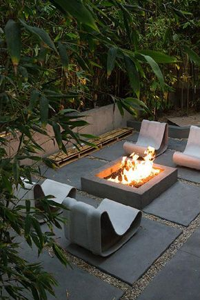 firepit and large patio blocks give a nice clean look!