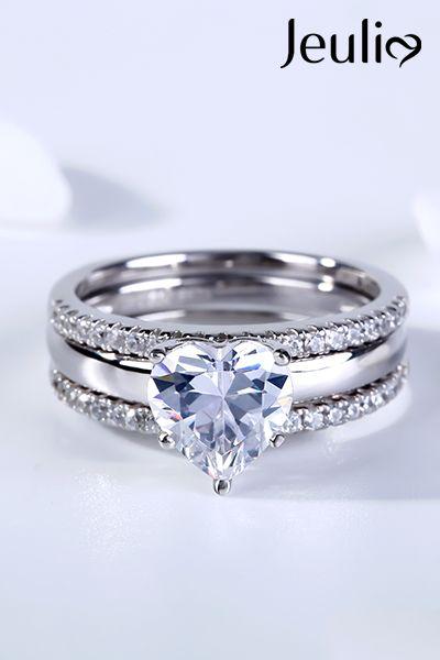 3pc Heart Shaped Wedding Ring Sets For Her Diamond White Jeulia