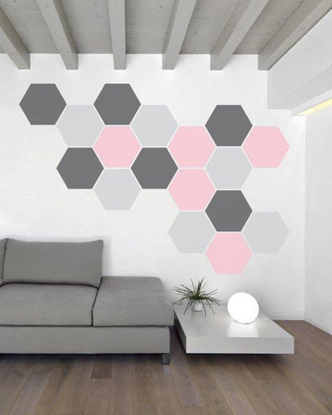 Honeycomb hexagon pattern - for kids room, nursery, office, living room- decorative vinyl wall art graphic removable decal or sticker -034