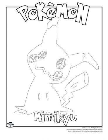 Mimikyu Coloring Page Coloring Pages Pokemon Coloring Pages