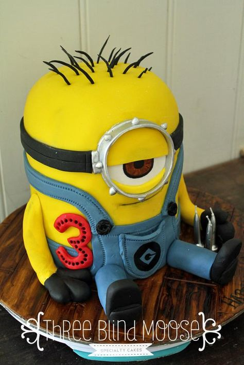 Minion Birthday Cake by Three Blind Moose Specialty Cakes, Korumburra, Victoria, Australia. You'll find this Cake Appreciation Society Member in our Directory at www.cakeappreciationsociety.com