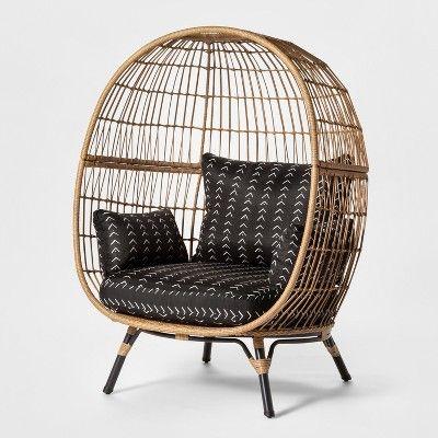 Southport Vee Stripe Patio Egg Chair - Black/White ...