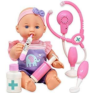 Pretend Play Medical Set Baby Doll Doctor Kit For Kids Includes 12 Inch Doll Talking Stethoscope Thermometer Needle Medicine Bottle Stick And Hammer Compl Baby Dolls Kits For Kids Kids Pretend Play
