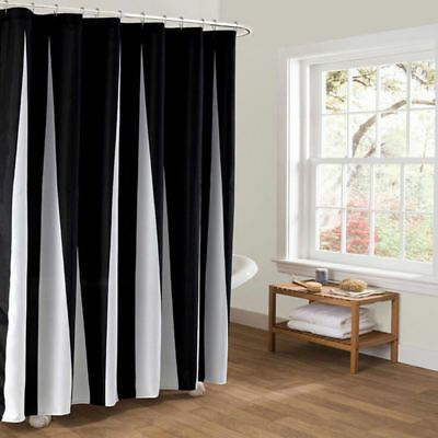 Black White Fabric Waterproof Shower Curtain Liner Polyester