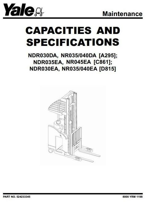 Yale Truck Ndr030da Nr035 040da Ndr035ea Nr045ea Ndr030ea Nr035 040ea Service Manual Forklift Instruction The Originals
