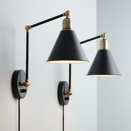 360 Lighting Modern Wall Lamp Plug In Set Of 2 Black And Antique Brass For Bedroom Reading Living Room Walmart Com In 2020 Plug In Wall Lamp Modern Wall Lamp Plug In Wall Sconce