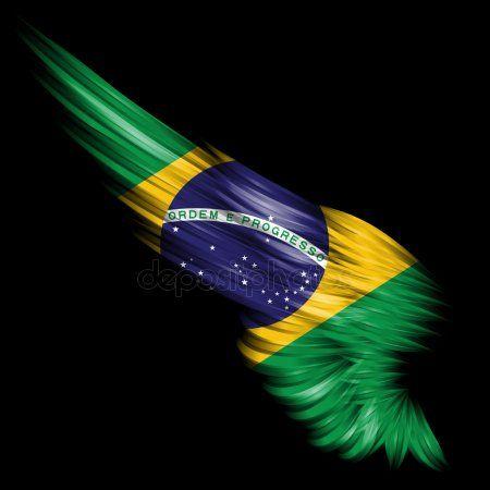 Asa Abstrata Com Bandeira Do Brasil No Fundo Preto Bandeira Do