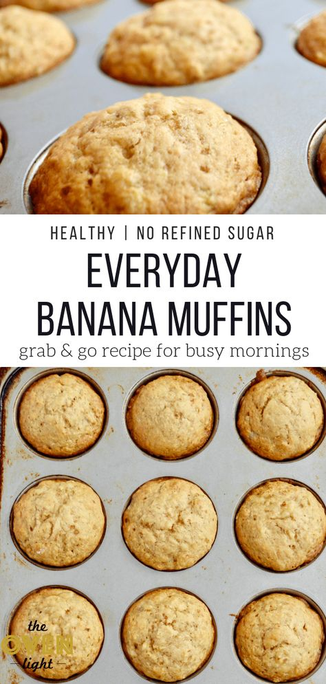 Healthy Everyday Banana Muffin Recipe with NO refined sugar. Perfect for busy mornings, keeps you and the kids happy! So delicious and easy to throw together! #bananamuffins #norefinedsugar #quickbreakfast