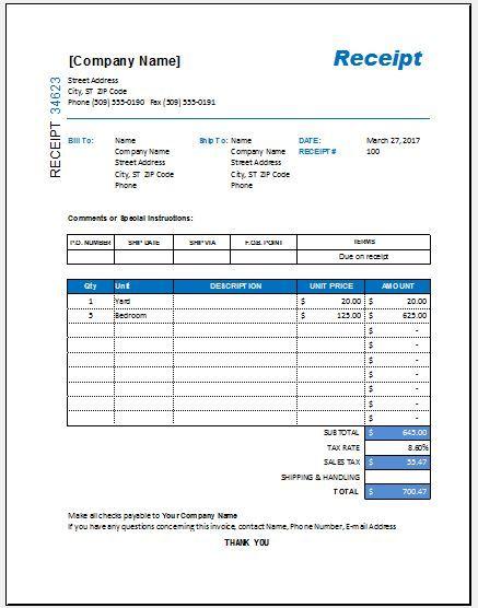 11 Itemized Receipt Templates Free Printable Word Excel Receipt Template Templates Printable Free Templates