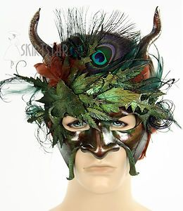 USA Made Leather Mask Masquerade Satyr Costume Nymph Mens Horns Feather Ren Fair | eBay