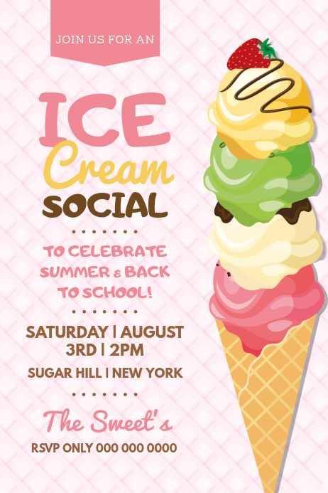 Pink Ice Cream Social Poster Ice Cream Poster Ice Cream Social Ice Cream Social Invitations