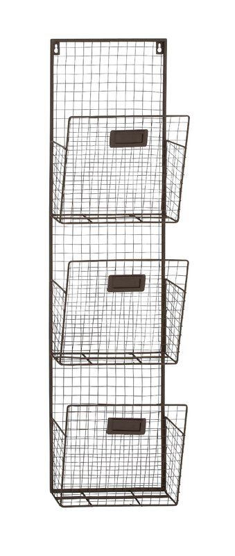Dighton 3 Tier Wire Wall Unit Set Wall Organization Rustic Office Baskets On Wall