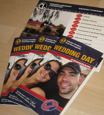 Our graphics department works with you to create these Football Game Day Wedding Programs.  We can showcase location information, the order of service, or a wedding day itinerary.  #footballwedding #stwdotcom