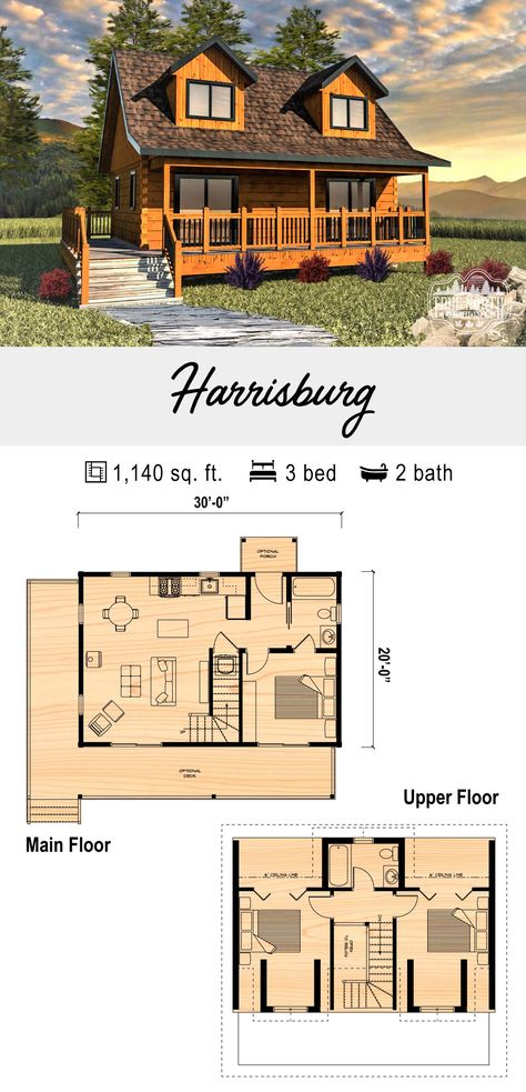 The Harrisburg is a perfect weekend getaway cabin, boasting 3 beds and 2 baths to accommodate your closest friends and family. The full length covered porch is ideal for a future screened-in room. Cabin Plans With Loft, Small Cabin Plans, Loft Floor Plans, Log Cabin Floor Plans, House Plan With Loft, Cabin House Plans, Cottage Floor Plans, Tiny House Cabin, Cottage House Plans