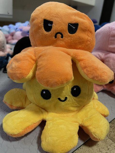 Cute Reversible Octopus Plushie - Dark Orange/Yellow
