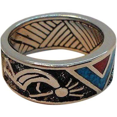9ceaf07b96b6c Vintage Textured Silvertone Metal Ring Inlaid Stones Southwestern ...