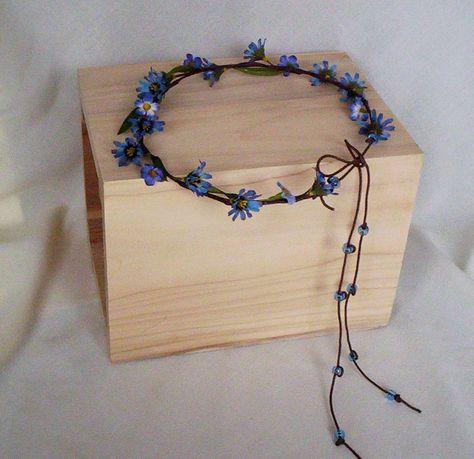 Hippie Halo Flower Crown Blue and Green tie dyed looking Silk Flower Power Bohemian Headband