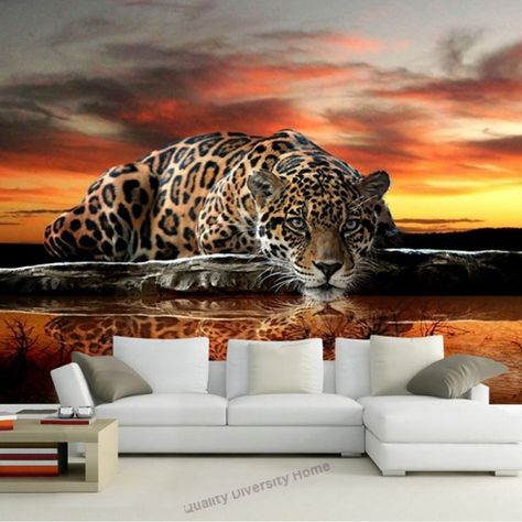 Custom Photo 3D Relief Stereoscopic Animal Leopard Home Decor Living Room Bedroom Backdrop Wallpaper