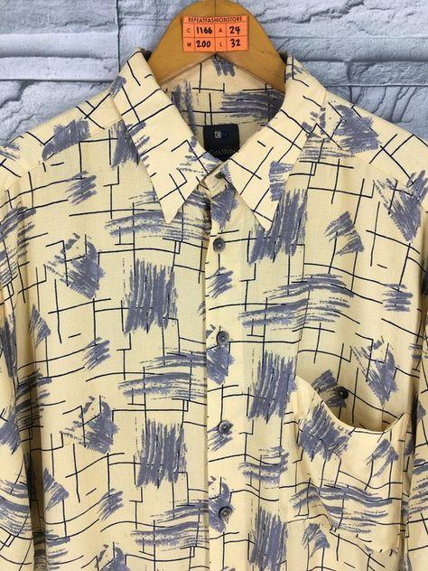 79bc7c144 CASA MODA HAWAIIAN Rayon Shirt Men Large Vintage Abstract Pop Art Artwork  Tiki Honolulu Aloha Hawaii