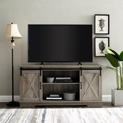 Farmhouse White Rustic Oak Sliding Barn Door 58 Tv Stand Living Room Tv Stand Living Room Tv Farm House Living Room