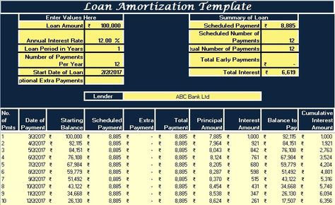 Download GST Receipt Voucher Excel Template against receipt of - loan amortization calculator template