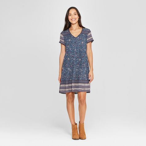 4ccc70b34b Women s Floral Print 3 4 Sleeve V-Neck Shift Midi Dress - Knox Rose Blue Xxl