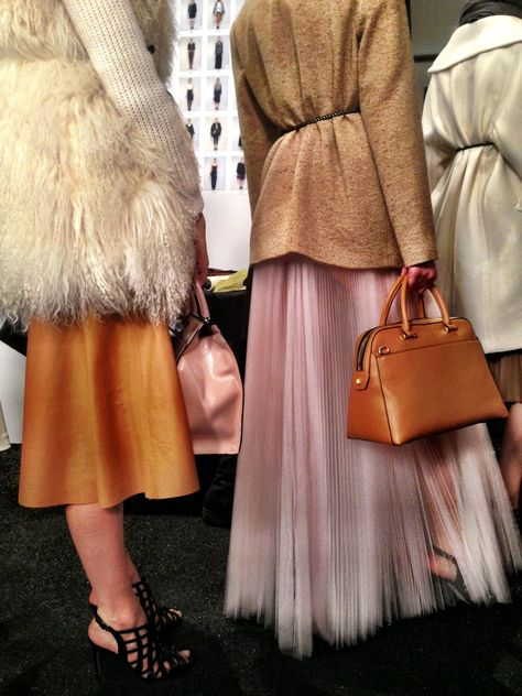 Caramel and blush backstage at MILLY Fall 2014
