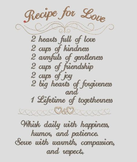 Recipe for Love Embroidery Design / weddings / Anniversary / | Etsy