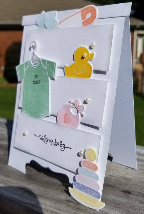 Welcome baby handmade card kit, stampin' up something for baby, dresser, chest -. Welcome baby han Baby Boy Cards Handmade, Baby Girl Cards, New Baby Cards, Welcome Card, Welcome Baby Boys, Card Kit, Card Card, Kids Cards, Cute Cards