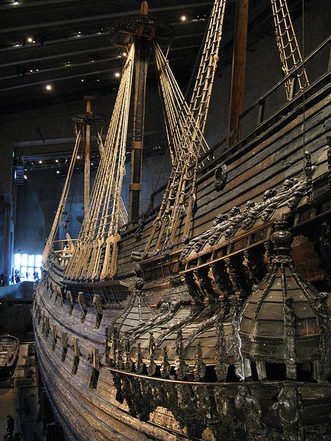 The Vasa Museum, Stockholm, Sweden. Largest and most intact shipwreck in the world. Raised after more than 3 centuries in 1961. Sank to the bottom of Stockholm Harbor in 1628.