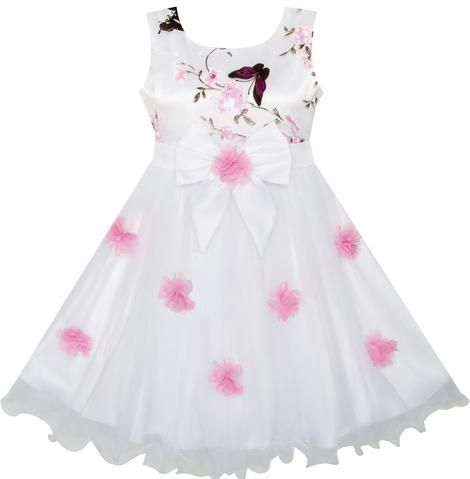 82af85feb Flower Girls Dress Butterfly Wedding Pageant Bridesmaid Size 4-10 ...