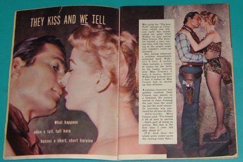 1957 tv article~clint walker cheyenne kisses dani crayne episode the iron trail