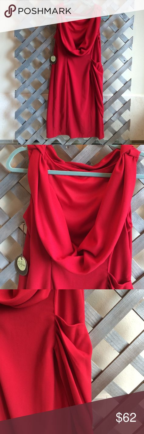"NWTS RED EVA FRANCO SLEEVELESS DRESS Size 10 ""GAZELLE""dress in rooster red.lined/ cowl neck drape-curved side zipper /knotted at shoulders/ elegant!pocket on left side. Eva Franco Dresses Midi"