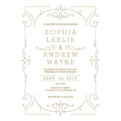 Gold Elegant Modern Classic Vintage Wedding Invitation Zazzle Com Vintage Wedding Invitations Vintage Wedding Cards Wedding Invitations