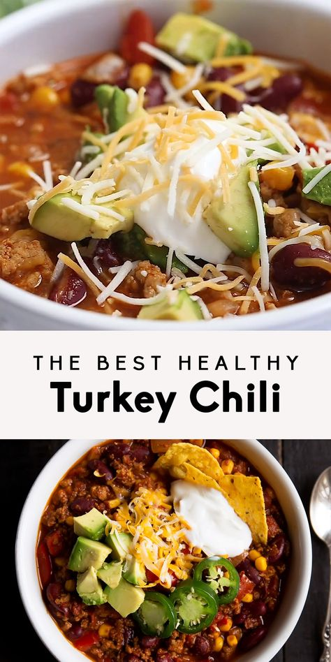 Healthy turkey chili made with lean ground turkey, kidney beans and corn. This version is simply the BEST! Can be made on the stovetop or in your slow cooker.  #ambitiouskitchen