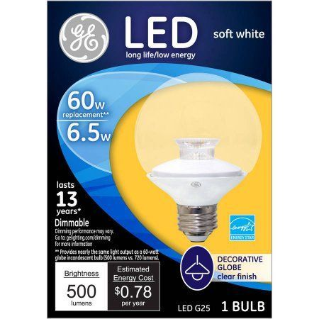 Ge 60 Watt Equivalent Uses 7 Watts Clear G25 Decorative Globe Led 1 Pack White Products In 2019 Globe Decor Led Light Fixtures