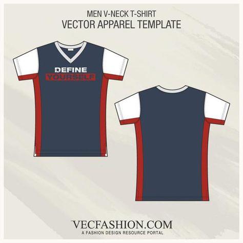 Men V-neck T-shirt Fashion Flat