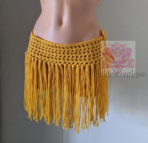 Your place to buy and sell all things handmade - Crochet skirt short Fringe bathing suit cover Mustard bikini Bikini Cover Up, Swimsuit Cover, Crochet Skirts, Crochet Clothes, Bikini Rose, Pink Bikini, Gold Bikini, Flamingo Bikini, Fringe Bikinis