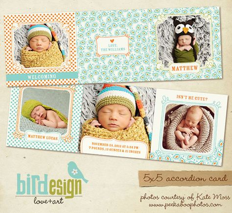 5x5 Accordion card  Birth Announcement by birdesign, $8.00