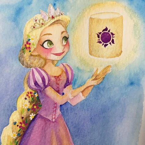 #Rapunzel #tangled #Disney #disneyprincesses #watercolorillustration #watercolor #disneystangled ""
