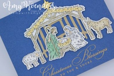 Nativity Christmas Cards 2020 Stampin' Up! Peaceful Nativity Christmas Card With Video Tutorial