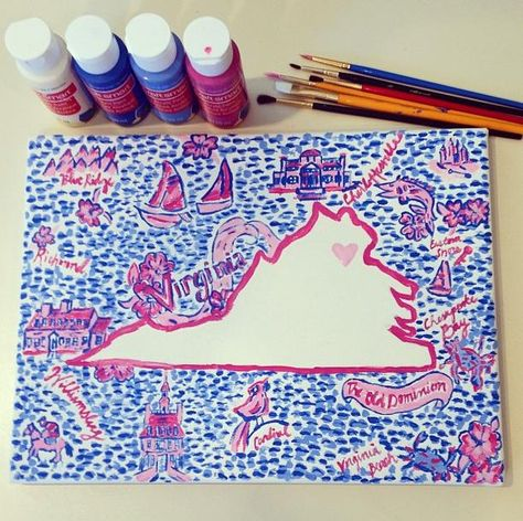 hand painted lilly pulitzer state canvas