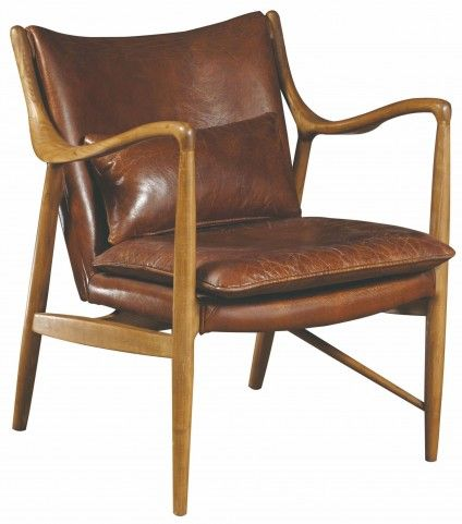 Anderson Brown Leather Accent Chair Wood Frame Arm Chair Leather Armchair Armchair