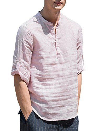 Mens V Neck Cotton Linen Henley Shirts 3//4 Sleeve Banded Collar T-Shirt Loose Fit Summer Beach Tops