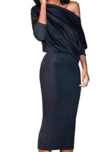 size 40 80a60 78fc1 WOZNLOYE Donna Elegante Abito Lunga Vestiti a Maniche Lunghe ...