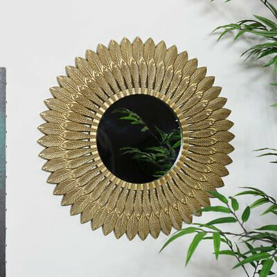 Large Gold Feather Wall Mounted Mirror Vintage Ornate Home Decor